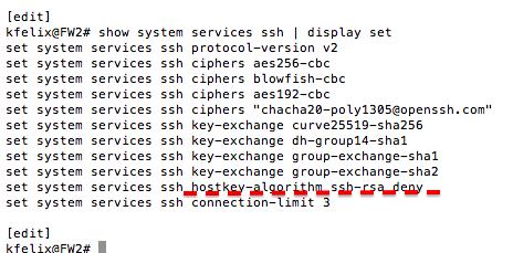 Ken Felix Security Blog: Tightening up junOS SRX and ssh access