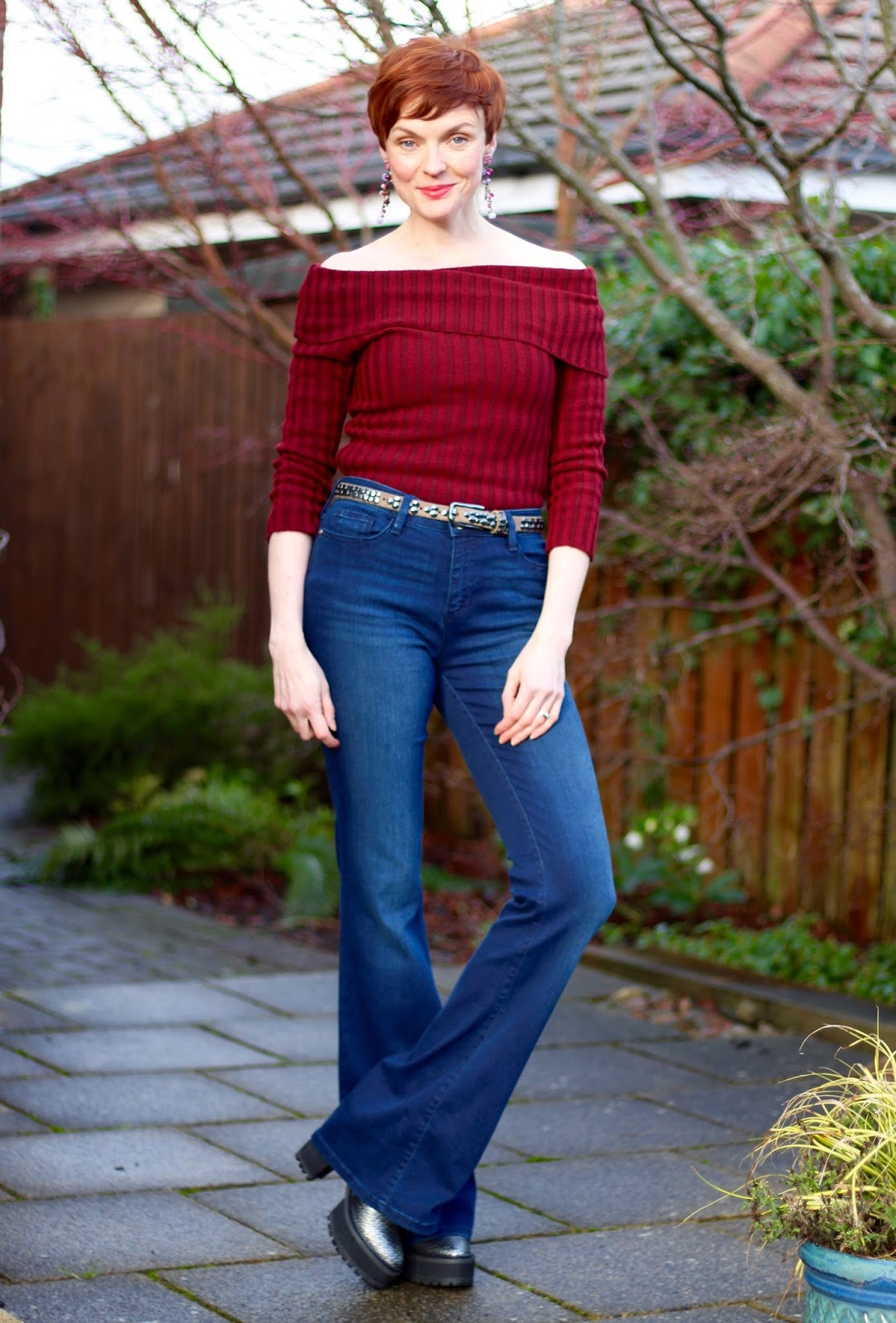 Flared jeans and an off the shoulder top, over 40 | Fake fabulous