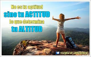 Resultado de imagen de No es tu aptitud, sino tu actitud, lo que determina tu altitud.