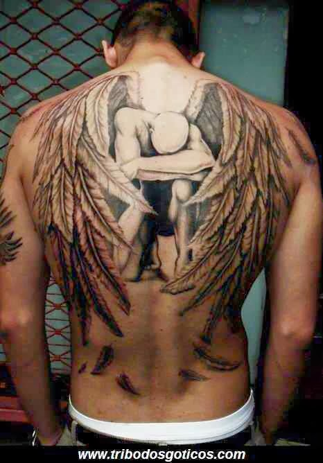 tatoo,anjo,triste,costa,gotico