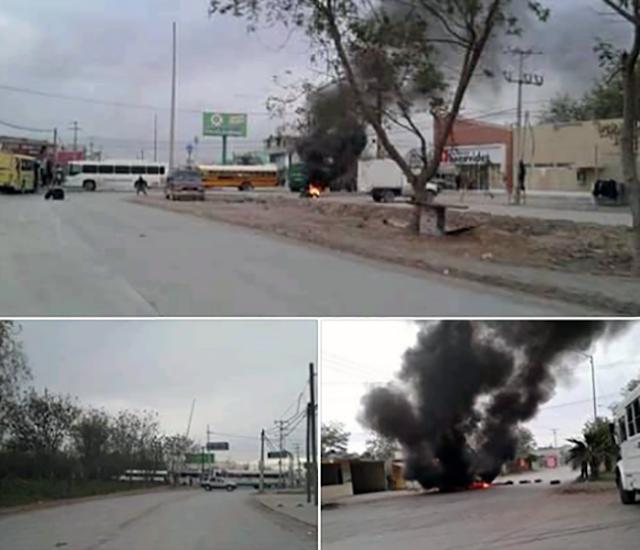 MAS Fotografías; autos quemados y camiones, barricadas con llantas