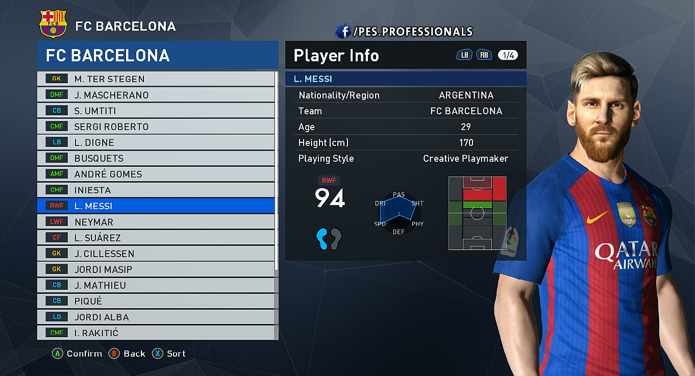 MESSI FACE PES Professionals V1