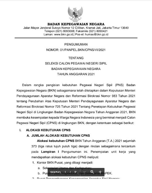 Lowongan Kerja CPNS Badan Kepegawaian Negara Tahun Anggaran 2021