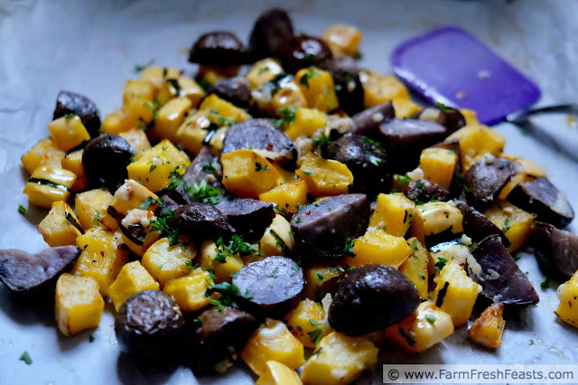 roasted delicata squash and purple potatoes on the sheet pan