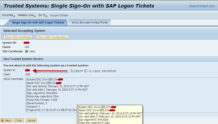 Single sign on setup for AS Java NW 7 3 using Logon Ticket mechanism