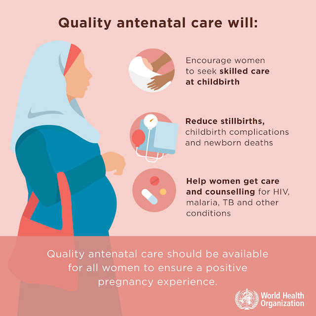 Antenatal care, Infographic, WHO
