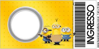 Tarjeta con forma de Ticket de Película de los Minions