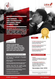 UBA Annual Foundation National Essay Competition - 2018 (N4.5m Prizes)
