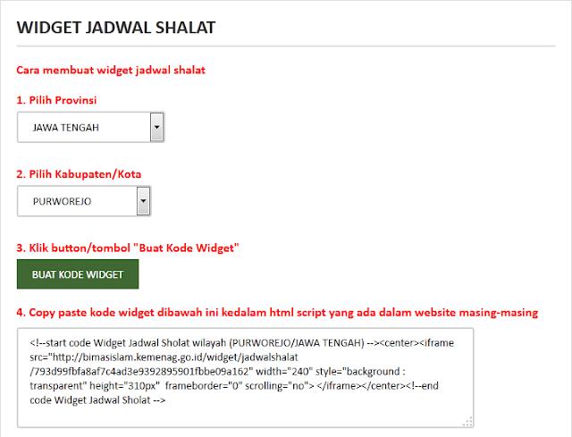 cara menambahkan widget jadwal sholat di blog