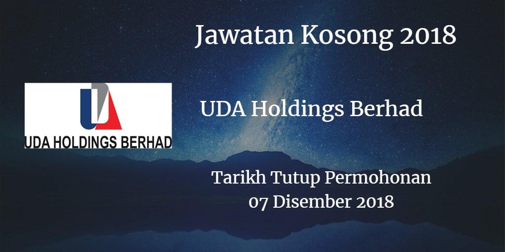 Jawatan Kosong UDA Holdings Berhad 07 Disember 2018