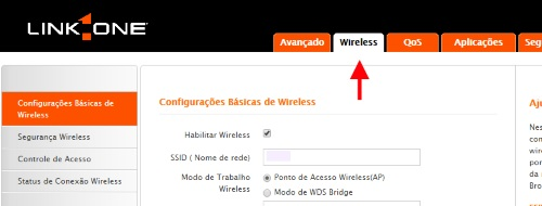 Link One configuração Wireless