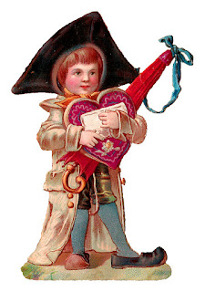 boy valentine illustration antique chocolate digital download