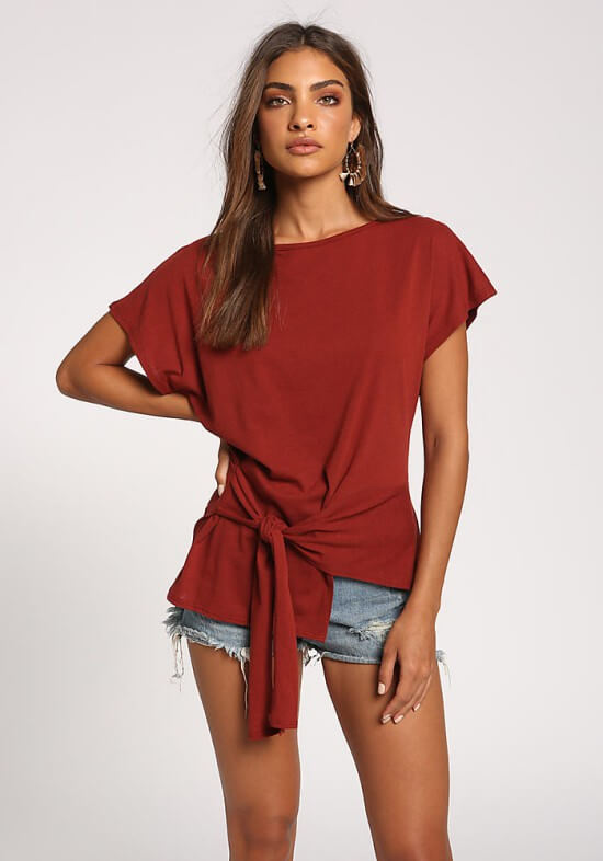 Love Culture rust side tie pointed tee