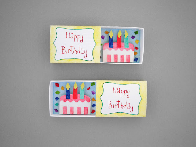 happy birthday matchbox card