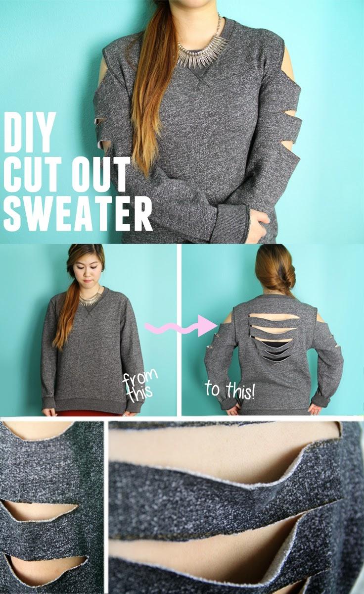 diy sweatshirt with cut out back