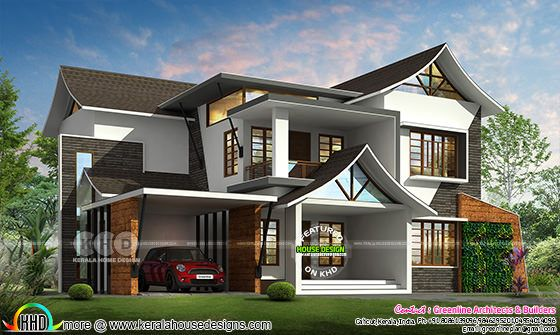 3176 sq-ft modern style sloped roof house plan