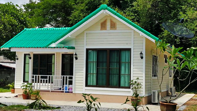 These small houses design has 2-3 bedrooms, 1-2 bathrooms, living area, and a kitchen. The total area under 110 sq.m. The construction cost is not more than 1.1 Million Baht or 35,000 USD.  If the design and decoration of these houses meet your needs then try to use it.