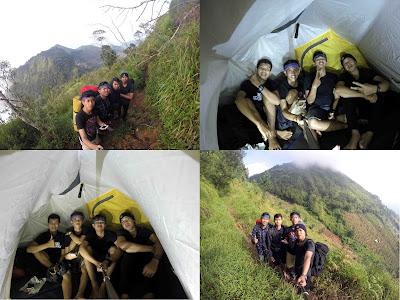 pemandangan di jalur pendakian dan kondisi tenda