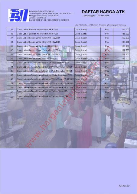 Daftar Harga ATK Murah 2016 Perlengkapan kantor EZ Label Casio www.hargaalattuliskantor.com