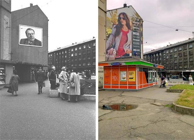 Конец 1970-х - начало 1980-х годов. Рига. Портрет Л.И. Брежнева на стене дома, стоящего на углу улиц Ленина и Миера / 2014 год. Реклама на углу улиц Бривибас и Миера