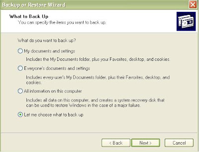 Backup Data Komputer Windows XP Pilih Data