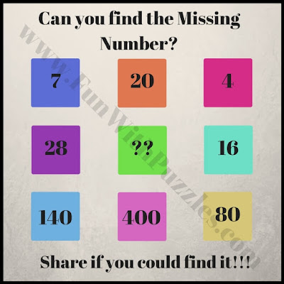 Maths Brain Teasers to find the missing number in sequence