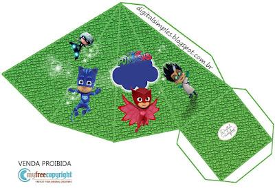 Caja cono para imprimir gratis de Super héroes en Pijamas.
