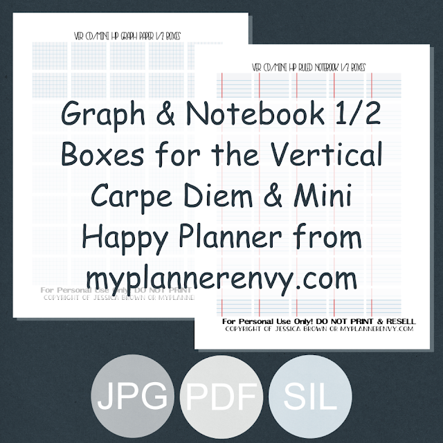 Free Printable Ruled Notebook & Graph Paper Half Boxes for the Vertical Carpe Diem Inserts and Mini Happy Planner from myplannerenvy.com