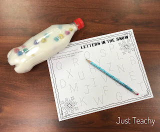 FREEBIE!! Letters in the Snow for letter identification, www.JustTeachy.com