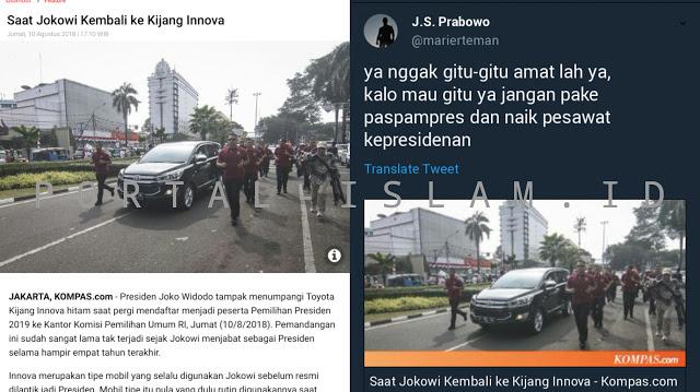 Jelang Pilpres, Jokowi Pencitraan Naik Innova. Suryo Prabowo: Nggak Gitu Amatlah, Harusnya Gak Pake Paspampres Sekalian