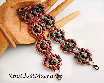 Micro macrame bracelets with Mexican red snowflake jasper.
