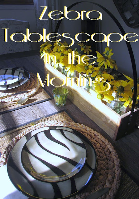 Breakfast Table set with zebra print dishes