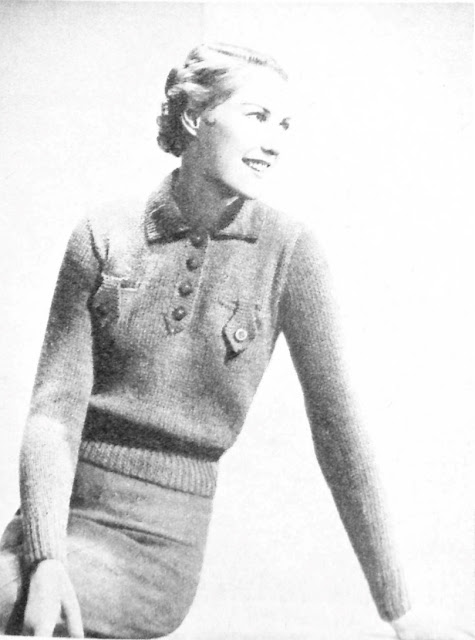 The Vintage Pattern Files: Free 1930s Knitting Pattern - Easy to Knit Jumper