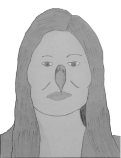 A grayscale portrait of a woman with high cheekbones, square jaw, and black hair, of Native American ancestry, with an eagle's beak in place of her nose.