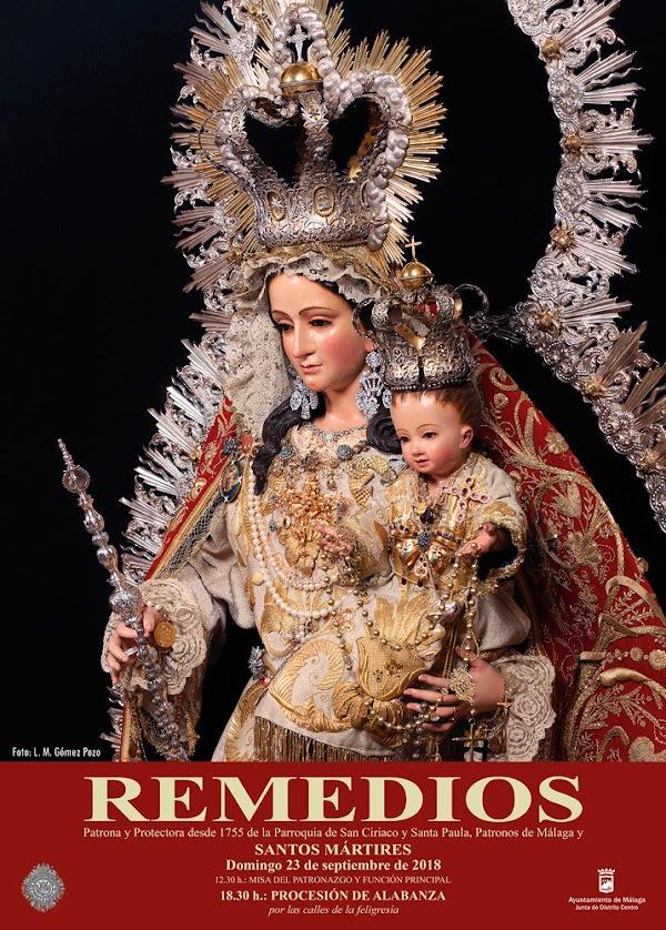 Cartel anunciador de la Procesión de Alabanza de Los Remedios de Málaga el próximo 23 de septiembre