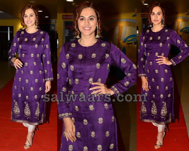 Taapsee Pannu in Purple Silk Salwar