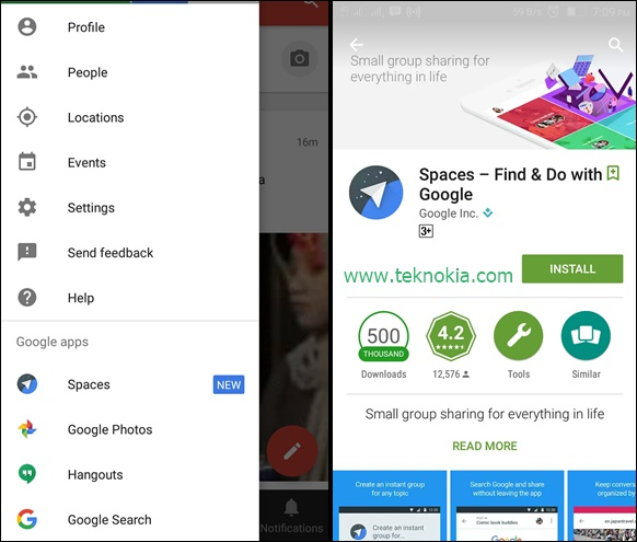 TEKNOKIA.com - Spaces application is an application that was built by Google and currently available in Google playstore. Since then this article posted the application already downloaded as many as 500 thousand.