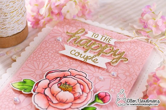 Floral Card for a Happy Couple by Ellen Haxelmans | Blooming Botanicals Stamp Set, Peony Blooms Stamp Set, Wedding Frills Stamp Set and Walking Woofs Die Set by Newton's Nook Designs #newtonsnook #handmade