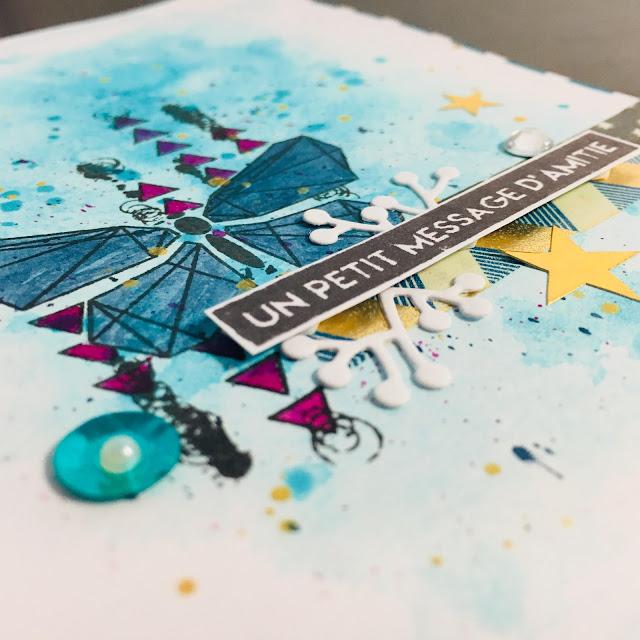 Carte papillon bleu détail