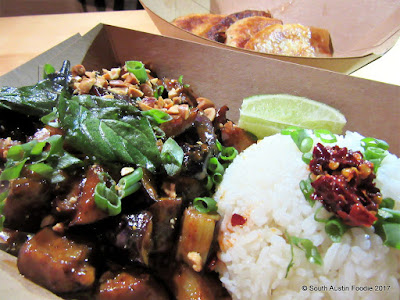 Panang Eggplant at Soursop Austin St Elmo Brewing