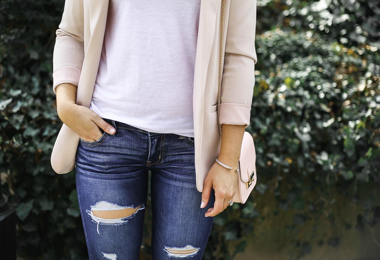 styled adventures blog, pink peonies pink blazer