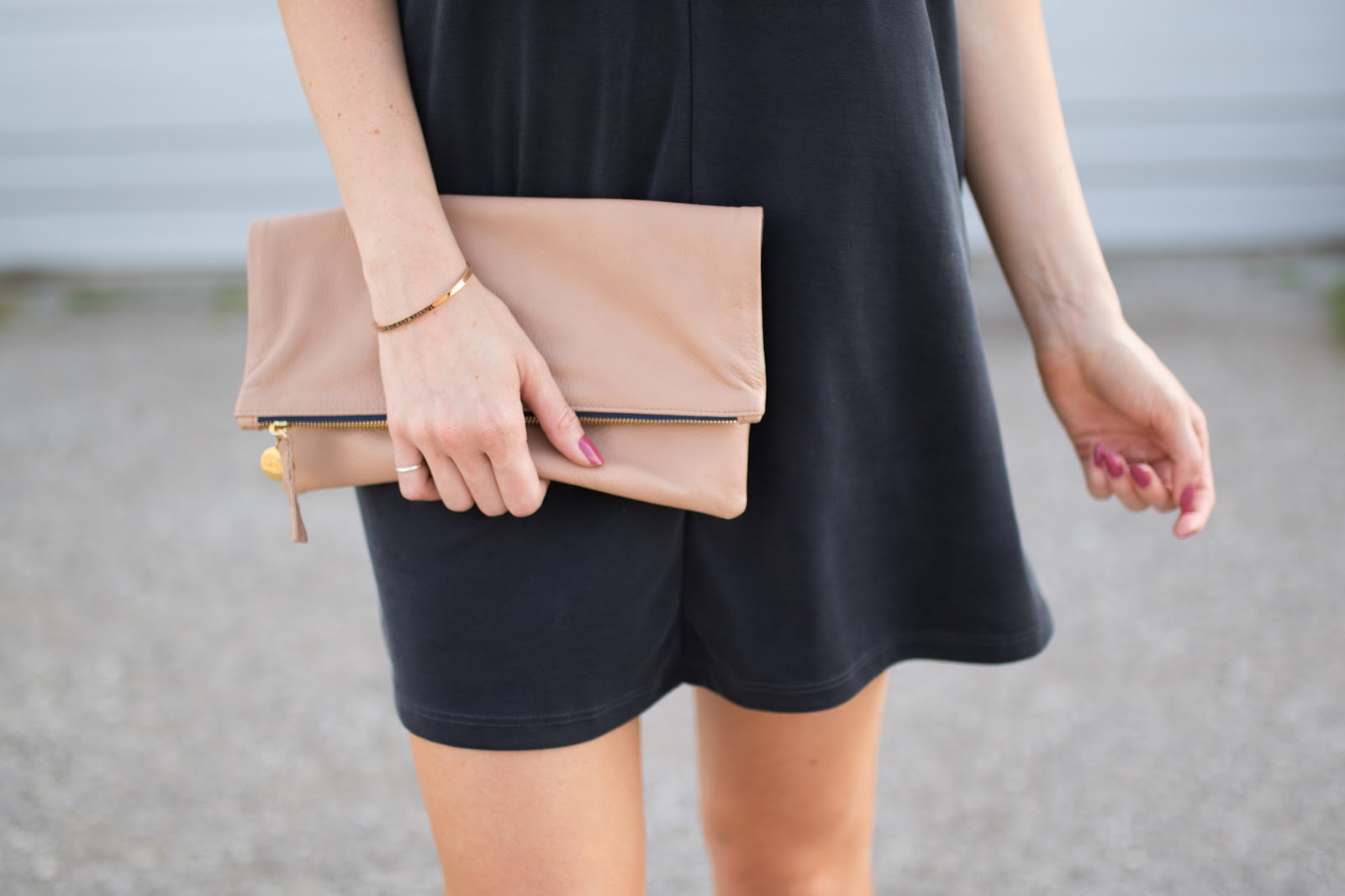 Clare V nude foldover clutch