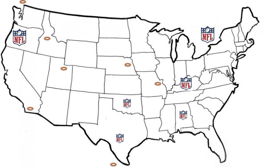 Next Major League Expansion Team: NFL Map Future Movement