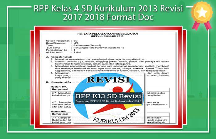 RPP Kelas 4 SD Kurikulum 2013 Revisi 2017 2018 Format Doc