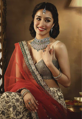 Bollywood Diva And Singer Shraddha Kapoor In Georgette Red Color Saree.