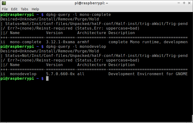 Hello Raspberry Pi: Install latest version of Mono and MonoDevelop