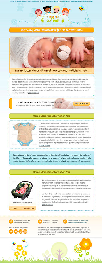 Things for Cuties: Newsletter Template para bebés y temática infantil
