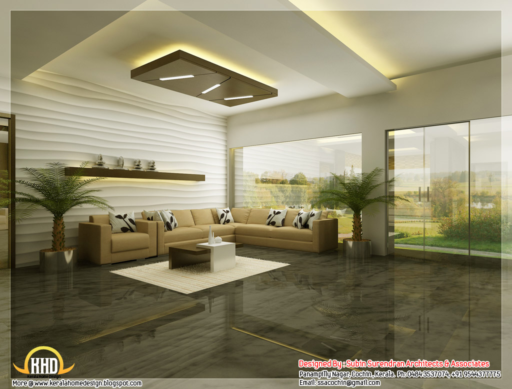 Beautiful 3d interior office designs kerala home design for Interior decoration of house