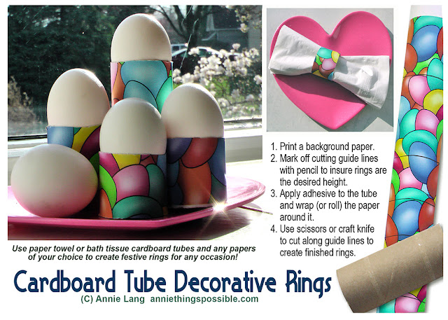 Use decorative paper, cardboard tubes and a few basic supplies to make Annie Lang's decorative rings