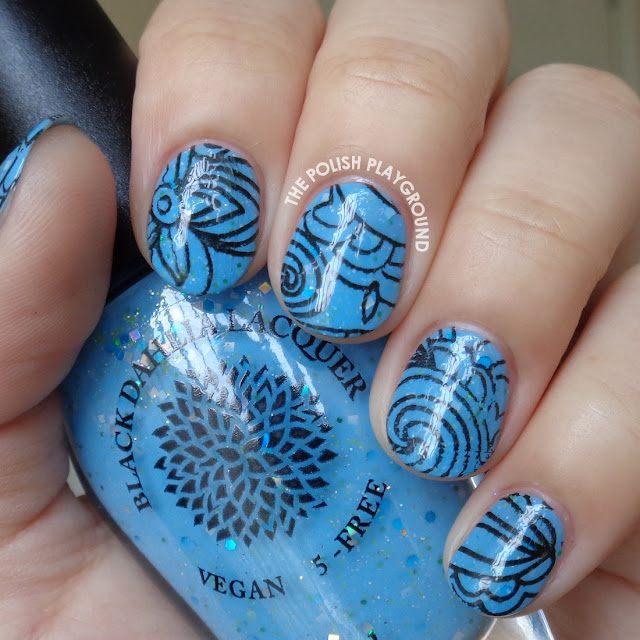 Blue Crelly and Black Floral Abstract Stamping Nail Art